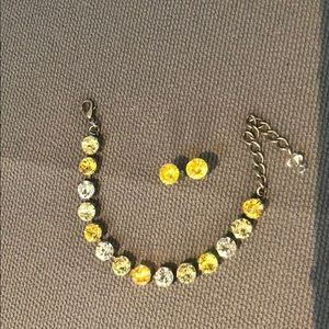 Swarovski yellow matching earrings and bracelet